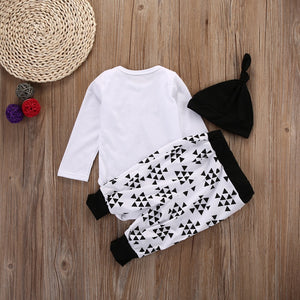 Black & White Romper, Pants & Hat Outfit - Smart Cute Babies
