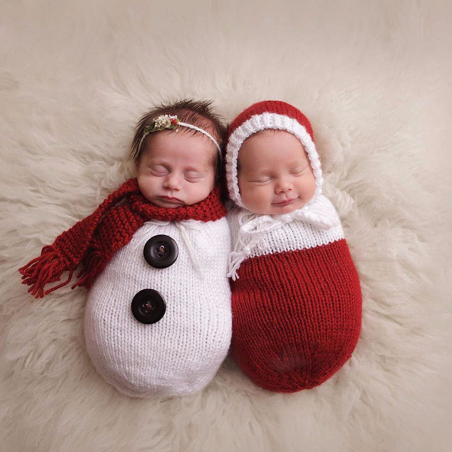 Crochet Snowman Wrap Outfit With Scarf/Hat - Smart Cute Babies