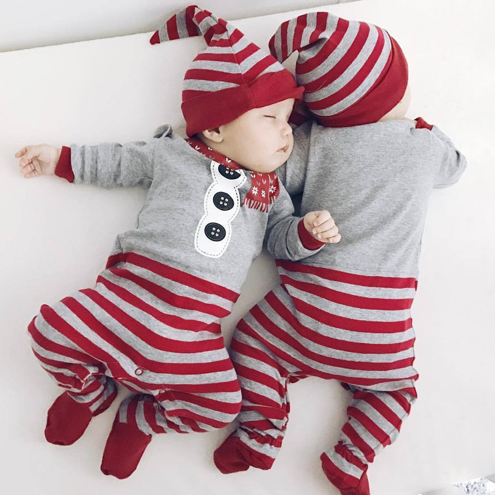 Cute 2pc Holiday Jumpsuit and Hat - Smart Cute Babies