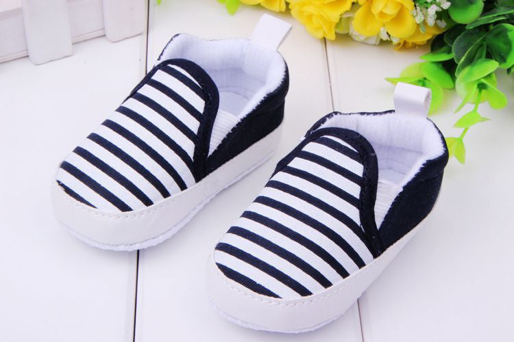 Adorable Striped Baby Canvas Shoes - Smart Cute Babies
