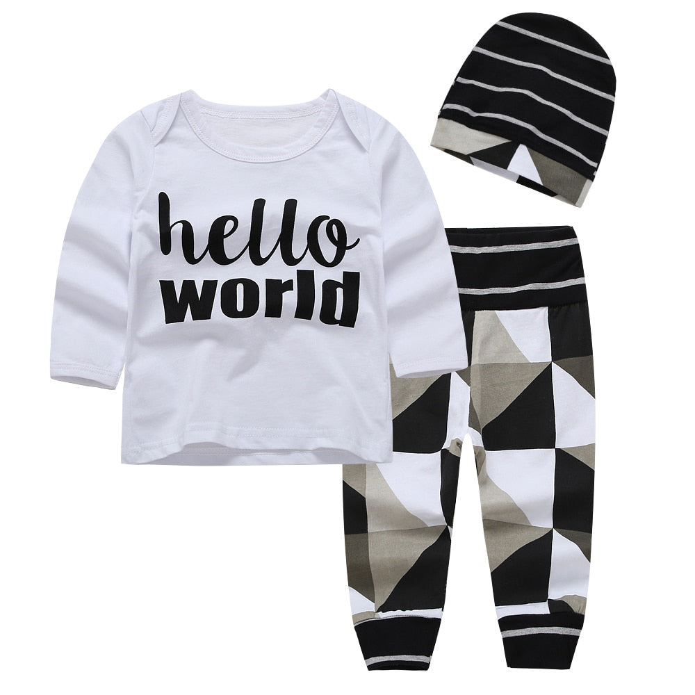 Adorable 3-pc 'Hello World' shirt, pants and hat set - Smart Cute Babies