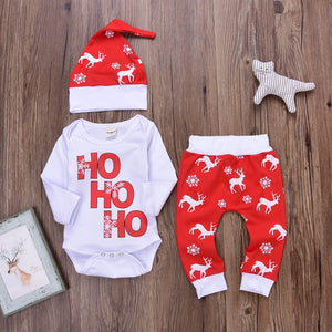 Adorable '3-pc Ho Ho Ho' Christmas Romper set - Smart Cute Babies