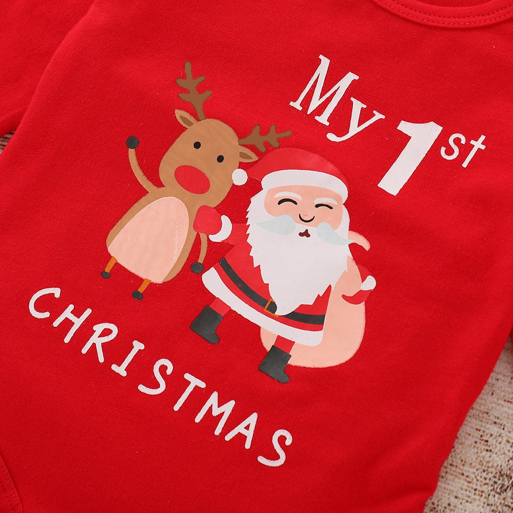 My First Christmas Santa and Deer Romper - Smart Cute Babies