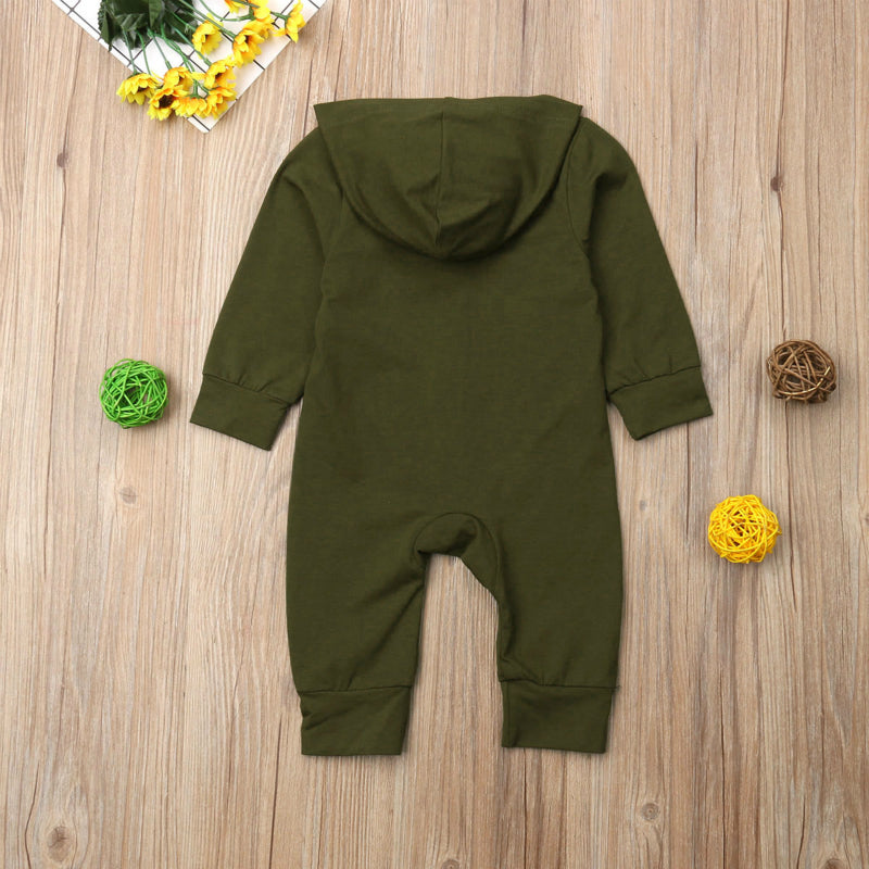 Baby Hooded Long Sleeve Button Romper - Smart Cute Babies