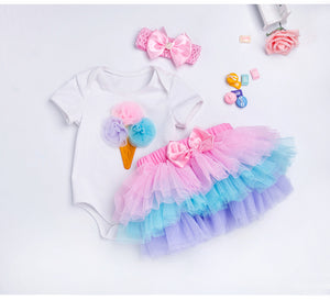 3 Pc Baby Princess Tutu and Romper Set - Smart Cute Babies