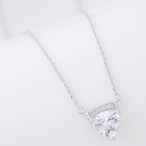 Silver Round Diamond Necklace - Crateen