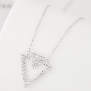 Silver Double Triangle Necklace - Crateen