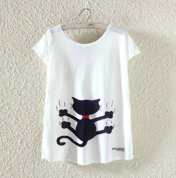 Black Cat Woman T Shirt