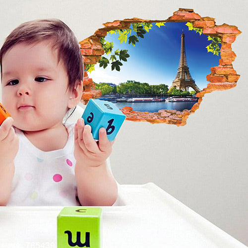 3D Eiffel Tower Wall Sticker