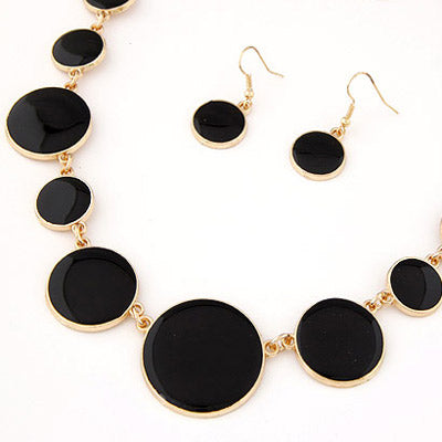 Black Gemstone Necklaces Set for Girls