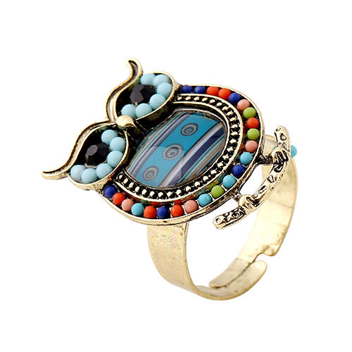 Peacok Blue Owl Rings - Crateen