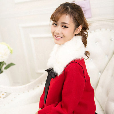 White Bowknot Imitation Fox Fur Detachable Collars