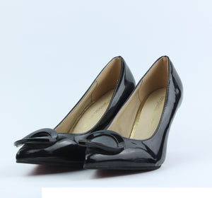 Black Shining Heel Shoes - Crateen