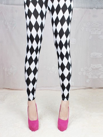 White & Black Squares Leggings