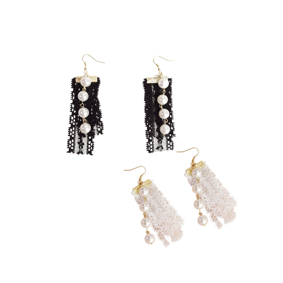 Fabric & Pearls Earrings