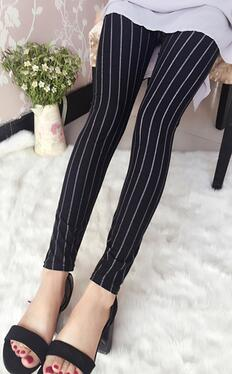 White Lines Black Leggings