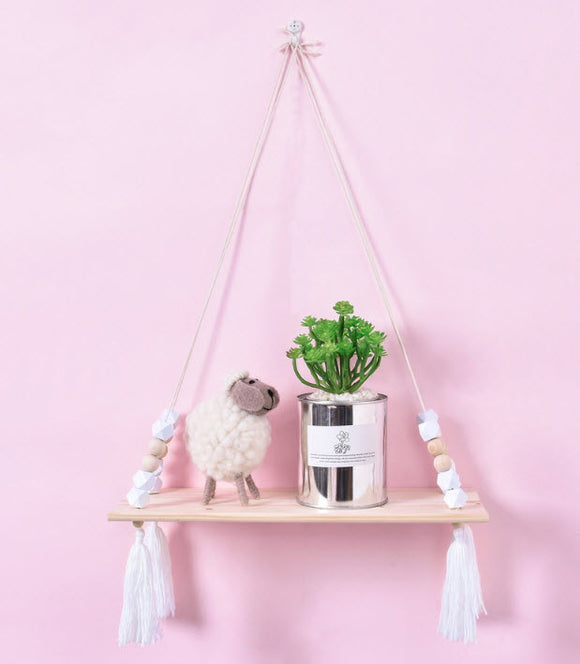 White Tassel Decorated Bookshelf