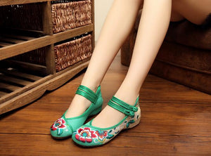 Green Closed Fabric Shoes for women