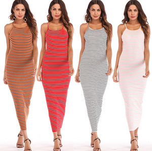 Plain Stripped Woman Dress