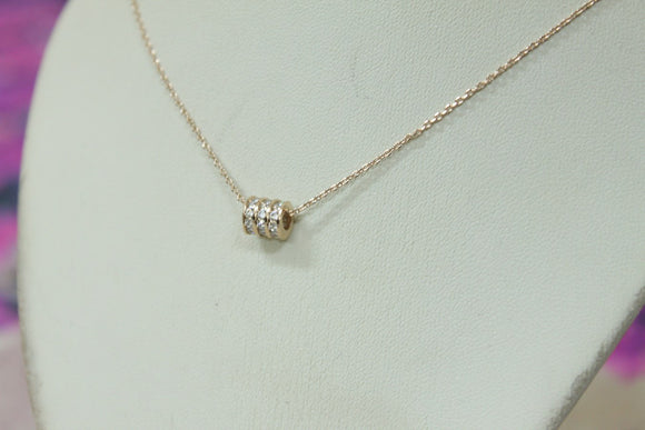 Rose Gold Diamond round Necklace - Crateen