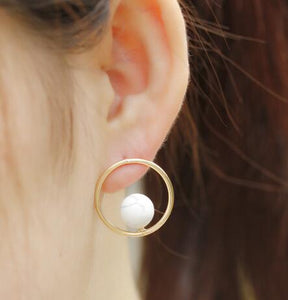 Golden Round Earrings - Crateen
