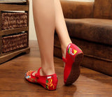 Red Decored Fabric Shoes for girls