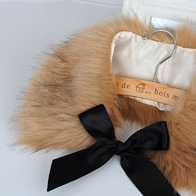Camel Bowknot Imitation Fox Fur Detachable Collars - Crateen
