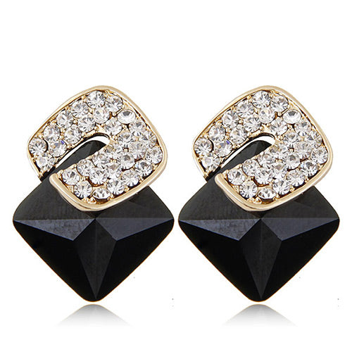 Black Diamond  Square Earring - Crateen