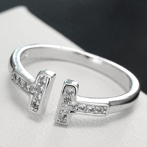 Sweet Silver Diamond Ring - Crateen