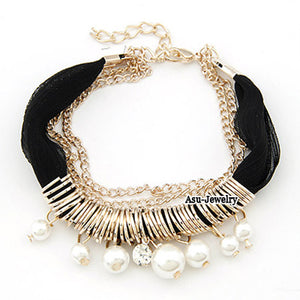 Fashion Black Pearl Bracelet - Crateen