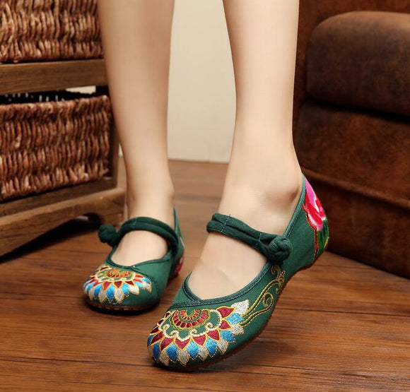 Green Closed Fabric Shoes