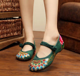 Green Closed Fabric Shoes - Crateen