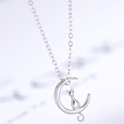 Silver Cat& Crescent Moon Necklace - Crateen