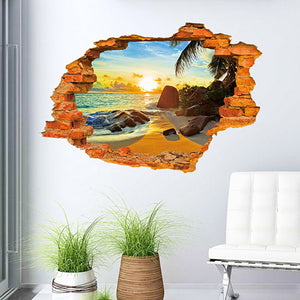 3D Sandy Beach Wall Sticker - Crateen
