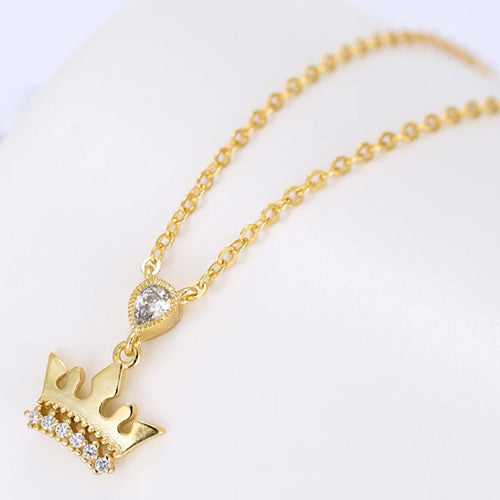 Elegant Gold Crown Necklace - Crateen