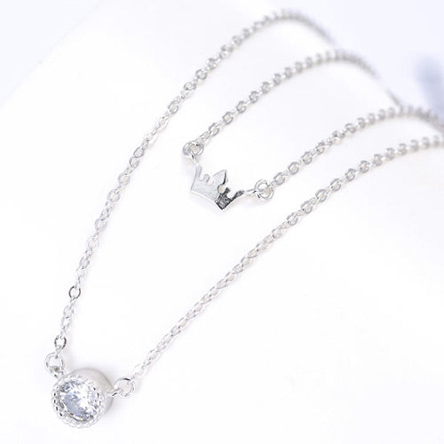 Fashion Silver Crown Necklace - Crateen