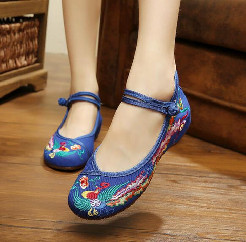 Blue Closed Fabric Shoes - Crateen