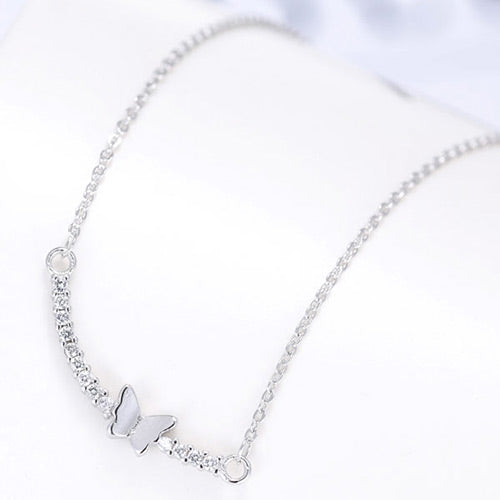 Fashion Silver Butterfly Necklace - Crateen
