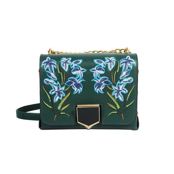Green Flowered Women Handbags
