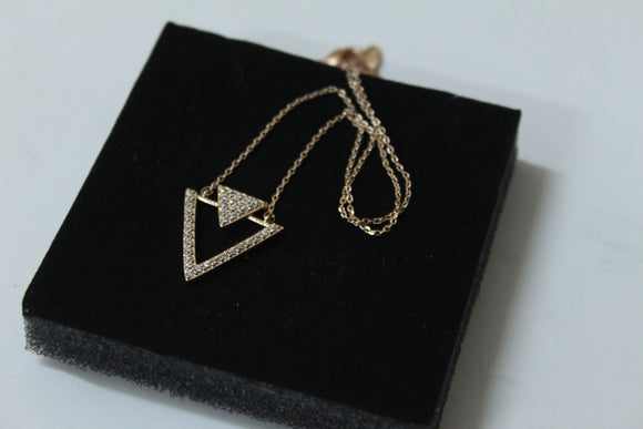 Rose Gold Double Triangle Necklace - Crateen