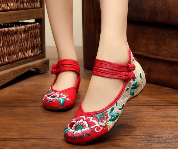 Red Closed Fabric Shoes