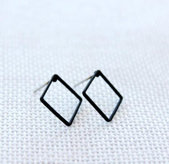 Black Square Earrings - Crateen