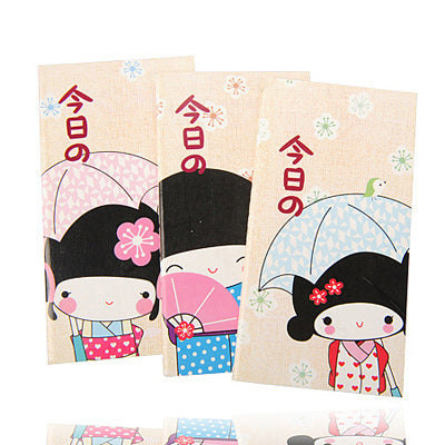 Colorful Cartoon Kimono Girl Design Notebook