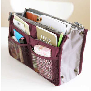 Claret-red Zipper Storage Bag - Crateen