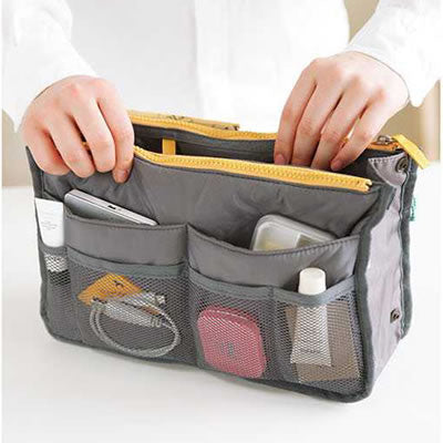Gray Zipper Storage Bag