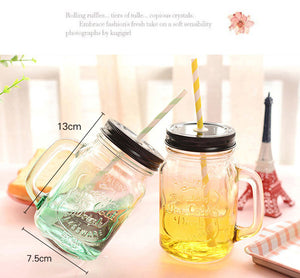 550ml Transparent Glass Design With A Straw