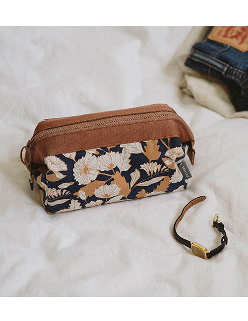 Brown Flower Make Up Bags - Crateen