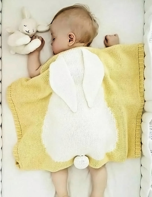 Yellow Rabbit Baby Blanket