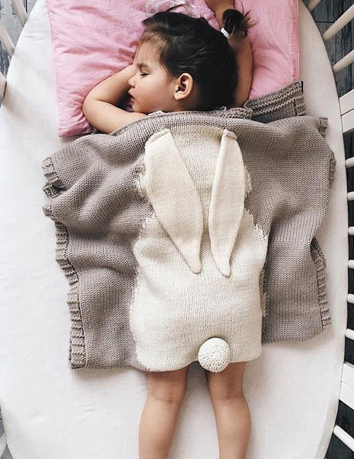Gray Rabbit Baby Blanket