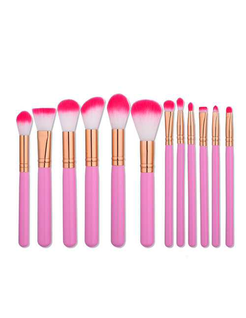 Pink and white Cosmetic Brush - Crateen